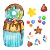 Vattenfärgmuffin, felik kaka som isoleras på en vit bakgrund Söt läcker hand dragen bageriillustration vektor illustrationer
