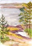 Vattenfärgnordlandskap med sjön och den steniga kusten Royaltyfri Fotografi