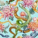 Vattenfärgorm och blommamodell stock illustrationer