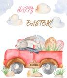 Vattenfärgpåskkort med lastbilen stock illustrationer
