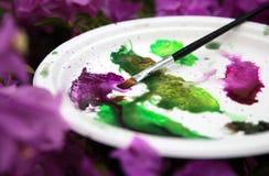 Vattenfärgpalett Fotografering för Bildbyråer