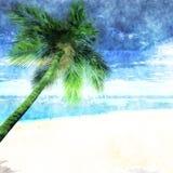 Vattenfärgpalmträd på stranden stock illustrationer