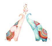 Vattenfärgpar av älskvärda elefanter som isoleras på vit bakgrund stock illustrationer