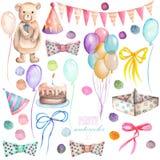 Vattenfärgpartiuppsättning i form av isolerade beståndsdelar: girland av flaggorna, konfettierna, kakan, luftballongerna, pilen,  royaltyfri illustrationer
