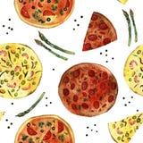 vattenfärgpizza Royaltyfria Bilder