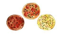 vattenfärgpizza Fotografering för Bildbyråer