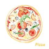 vattenfärgpizza Hand målad realistisk illustration på papper royaltyfria foton