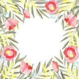 Vattenfärgram av filialer med gröna och gula sidor, blommor och bär vektor illustrationer