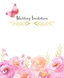 Vattenfärgram med rosa färgblommor och sidor arkivfoto