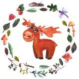Vattenfärgram med skogdjur för baby shower, dagis, skola, utbildning, t-skjorta vektor illustrationer