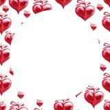 Vattenfärgram röda hjärtor Lycklig bakgrund för dag för valentin` s Arkivfoton