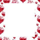 Vattenfärgram röda hjärtor Lycklig bakgrund för dag för valentin` s Arkivbild
