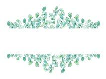 Vattenfärgram som är blom- med eukalyptusfilialer stock illustrationer