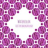 Vattenfärgrambakgrund med rosa blom- cirklar som sticker textur Hand tecknad vektorillustration Arkivbilder