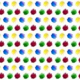 Vattenfärgregnbågefläcken plaskar av röd gul blå och grön färg som isoleras på vit bakgrund Sömlös repetitionmodell för stock illustrationer