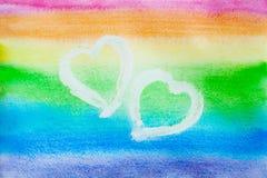 Vattenfärgregnbågehjärta abstrakt bakgrundsförälskelse begreppsförhållande Vid dag för St-valentin` s ställe för din text Royaltyfria Foton