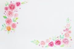 Vattenfärgrosram för att gifta sig, inbjudan, lyckönskan, Royaltyfri Foto