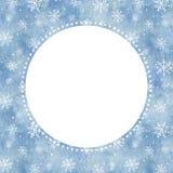 Vattenfärgrundaram med blå lutningbakgrund och snowfal vektor illustrationer