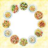 Vattenfärgrundaram med plattor med mat vektor illustrationer