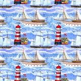 Vattenfärgseglingskepp och sömlös modell för fyr royaltyfri illustrationer