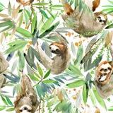 Vattenfärgsengångare och sömlös modell för tropisk växt tropiskt djur stock illustrationer