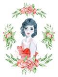 Vattenfärgskönhetflickan med mörkt hår, den röda klänningen och den blom- kransen, den röda pionen blommar Arkivfoton