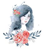 Vattenfärgskönhetflickan med mörkt hår och den blom- röd och indigoblå pionen för krans, blommar Arkivfoto