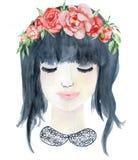 Vattenfärgskönhetflickan med mörkt hår och den blom- röd och indigoblå pionen för krans, blommar Royaltyfria Bilder