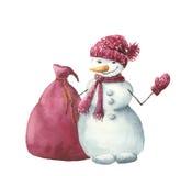 Vattenfärgsnögubbe med julgåvapåsen Hand målad vinterillustration som isoleras på vit bakgrund För design Arkivbild