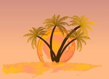 Vattenfärgsol med palmträdet vektor Arkivfoto