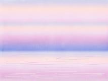 Vattenfärgsolnedgång på strandlandskapbakgrund Arkivbild
