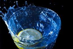 Vattenfärgstänk med citronen Royaltyfri Bild