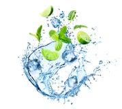 Vattenfärgstänk med mintkaramellsidor, skivor av limefrukt och iskuber arkivbilder