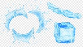 Vattenfärgstänk och iskub Royaltyfri Foto
