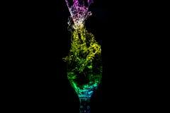 Vattenfärgstänkserie - Mini Wine Glass Turbulent Color Royaltyfri Bild