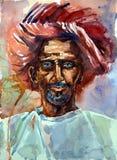 Vattenfärgstående av en gamal man i en turban Arkivbilder