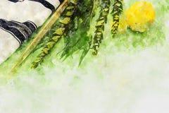 Vattenfärgstil och abstrakt bild av den judiska festivalen av Sukkot Traditionella symboler den fyra arten: Etrog lulav, hadas, m Fotografering för Bildbyråer