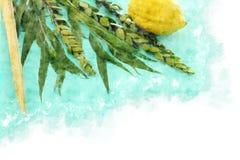 Vattenfärgstil och abstrakt bild av den judiska festivalen av Sukkot Traditionella symboler den fyra arten: Etrog lulav, hadas, m Royaltyfri Fotografi