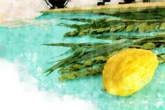 Vattenfärgstil och abstrakt bild av den judiska festivalen av Sukkot Traditionella symboler den fyra arten: Etrog lulav, hadas, m Royaltyfri Foto