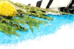 Vattenfärgstil och abstrakt bild av den judiska festivalen av Sukkot Traditionella symboler den fyra arten: Etrog lulav, hadas, m Arkivfoto