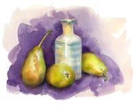 Vattenfärgstilleben med päron Arkivbild