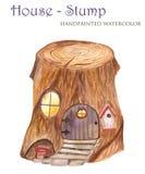 Vattenfärgstubben är ett hem för gnomer vektor illustrationer