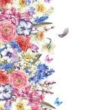 Vattenfärgtappning blommar buketten i redet med butterflie royaltyfri illustrationer