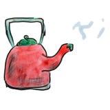Vattenfärgtecknad film som drar den röda kokkärlet som isoleras på stock illustrationer