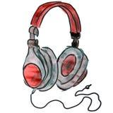 Vattenfärgtecknad film som drar isolerad röd hörlurar vektor illustrationer