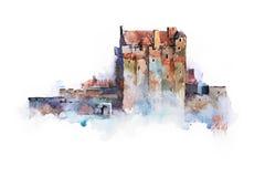 Vattenfärgteckning av Eilean Donan Castle i Skottland royaltyfri illustrationer