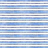 Vattenfärgteckning av en sömlös modell på ett marin- tema, cancer, hummer, flodkräfta, med blåa band, vågor, hav, band stock illustrationer