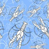 Vattenfärgteckning av en sömlös modell på ett marin- tema, cancer, hummer, flodkräfta, med blåa band, vågor, hav, band royaltyfri illustrationer