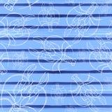 Vattenfärgteckning av en sömlös modell på ett marin- tema, cancer, hummer, flodkräfta, med blåa band, vågor, hav, band vektor illustrationer