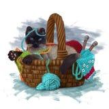 Vattenfärgteckning för Siamese katt stock illustrationer